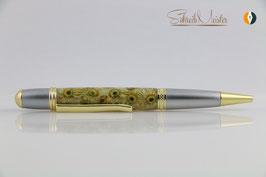 »Merlin« Flower-Power mit echten Kamillen-Blüten, satiniertes Chrom und Gold