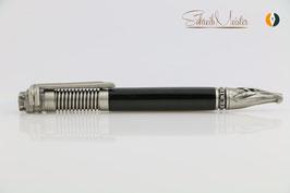 »Biker Stift«, Eiche geflammt, schwarz, Antik Silber