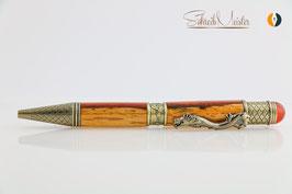 »Drachen Stift«, Padouk, zweifarbig, Antik Zinn