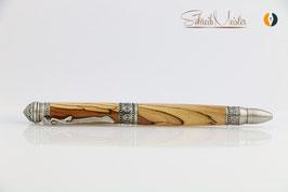 »Yoga Pen«, stabilisierter Apfel, Antik Zinn