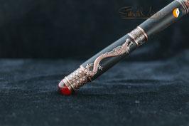 »Drachen Stift«, Ebenholz schwarz, naturbelassen, Antik Kupfer