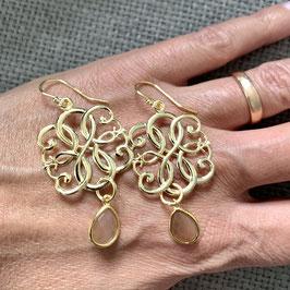 *sparkle&shine* big ornament gold plated & chocolate moonstone