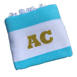 *monogram towel light* turqoise