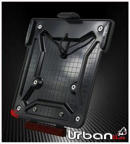 Motorrad Kennzeichenhalter ABS mit Kennzeichenbeleuchtung, LED Blinker und Rückstrahler (abnehmbar)