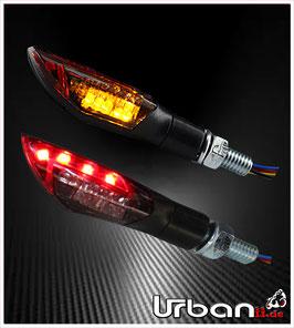 LED Mini Blinker Rücklicht DUAL schwarz getönt