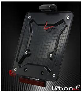 Motorrad Kennzeichenhalter Carbon mit Kennzeichenbeleuchtung und Rückstrahler (abnehmbar)