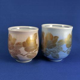 """Kutani Paired Teacups """"kinsai Sazanka"""" gold leaf"""