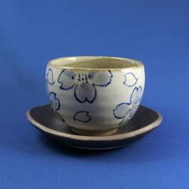 """☆Teacup with saucer  """"SAKURA blue"""" 220 ml"""