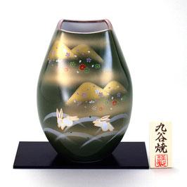 "☆Kutani vase ""Kinsai, Mouontains and  Rabbits""  H. 24 cm"