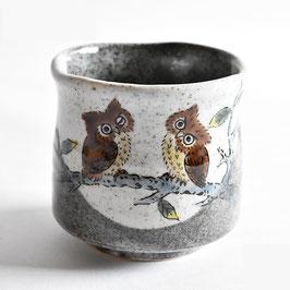 "Large Yunomi Teacup ""Owls/Eulenpaar"""