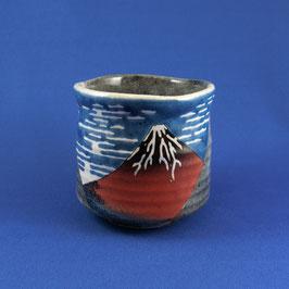 """Yunomi Teacup """"Ukiyoe, Hokusai Red Fuji"""""""