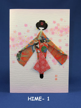 ☆Origami Kimono Doll greeting card (Typ A: HIME)