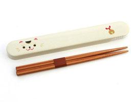 """☆Chopstick Set """"Lucky cat face"""" - 18 cm"""