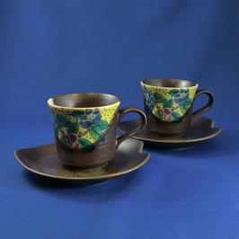 """Kutani Paired Coffee cup """"Yoshidaya, Camellia"""""""