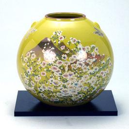 "☆Kutani vase ""Kasumisou"" yellow  H. 17 cm"