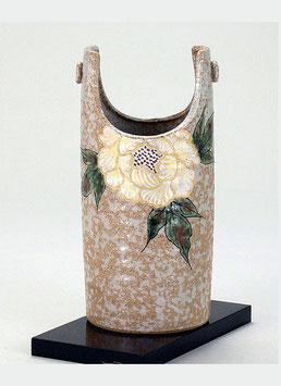 "☆Kutani bucket pail vase ""White Peony""  H. 19cm"