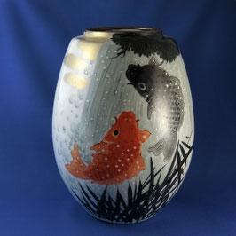 "☆Kutani vase ""KOI carps"" H. 24 cm"