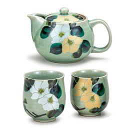 "Kutani ware Tea set ""gold & silver Camellias"""