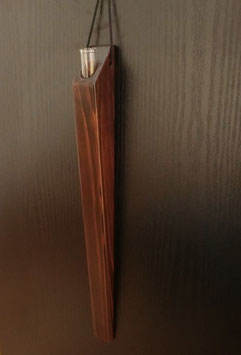 Wooden vase holder with a glass tube - wall hanging -