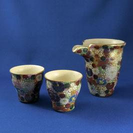 """Kutani Sake set """"Hanazume"""" Gold floral"""