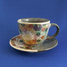 "Kutani Coffee cup ""Hanazume"" Gold floral"