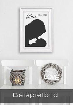 """Ihr individuelles Poster """"Lieblingsmensch Silhouette""""   Schwarzweiss"""