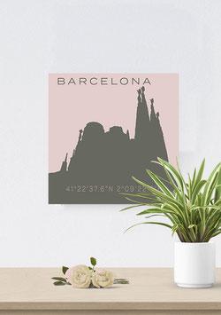 """Leinwand """"Barcelona Pastell"""" Silhouette & Koordinaten"""