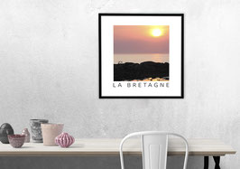 "Poster ""Coucher du Soleil - Bretagne"" | Blanc"