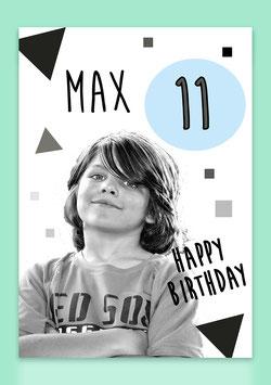 """Karte Junge - """"Happy Birthday"""" (individualisierbar mit Namen, Zahl + Foto)"""