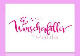 """Karte - """"Wunscherfüller pink"""" für Geldgeschenke (individualisierbar mit Namen)"""