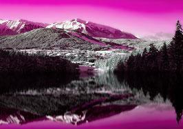 Leinwand Berge Pink