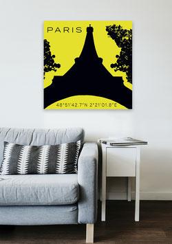 "Leinwand ""Paris"" Silhouette & Koordinaten"