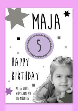 """Karte Mädchen - """"Happy Birthday"""" (individualisierbar mit Namen, Zahl + Foto)"""