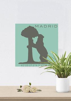 """Leinwand """"Madrid Pastell"""" Silhouette & Koordinaten"""