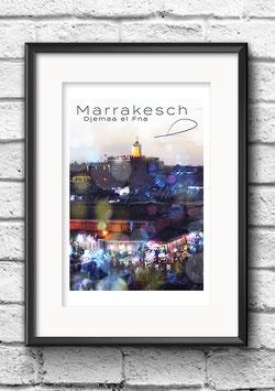 """Poster """"Marrakesch Bokeh Djemaa el Fna"""""""