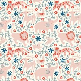 Hidden Flowerfield Cream- Interlock Knit - Birch