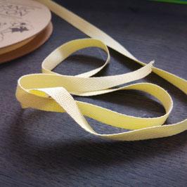 Katoenen Band – 10 mm breed - Lichtgeel visgraat