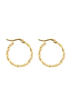 Golden twisted hoops 30 mm