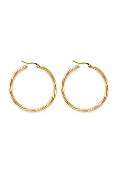 Golden twisted hoops 40 mm