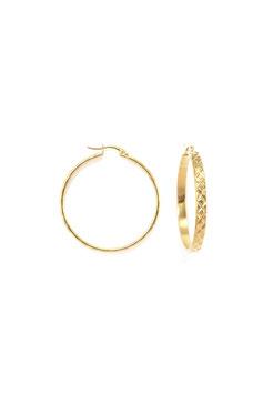 Golden textured hoops