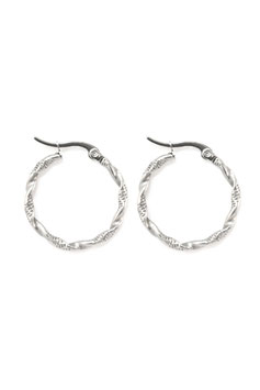 Silver twisted hoops 30 mm