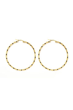 Golden big twisted hoops 50 mm