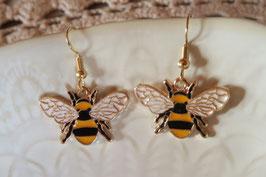 """Boucles d'oreilles """"Petit couple d'abeille"""" version doré"""