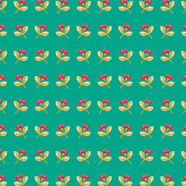 Baumwolle grün mit Blumen (Adl)
