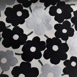 Kokka: schwarze Blumen mit silber