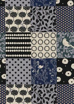 Canvas: mit diversen Quadraten in blau/schwarz Ton
