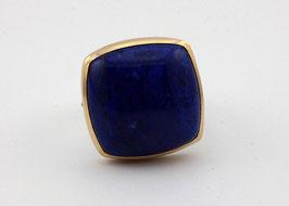 935er Silberring Lapis Lazuli antik in 750er Goldfassung