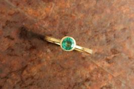 750er Goldring mit Smaragd rund