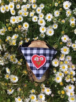 """Dreieckstuch Hundehalsband """"blau groß-kariert + Herz rot mit 2 Blumen"""""""