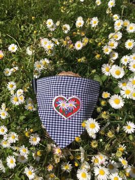 """Dreieckstuch Hundehalsband """" rund geschnitten blau klein-kariert + Edelweissblumen """""""